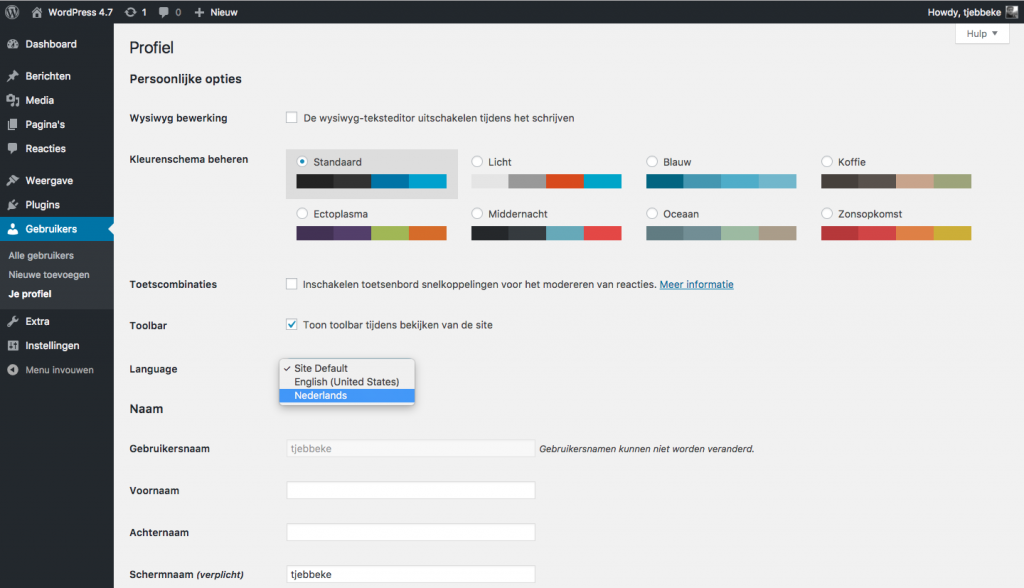 WordPress 4.7 - Admin taal instellen