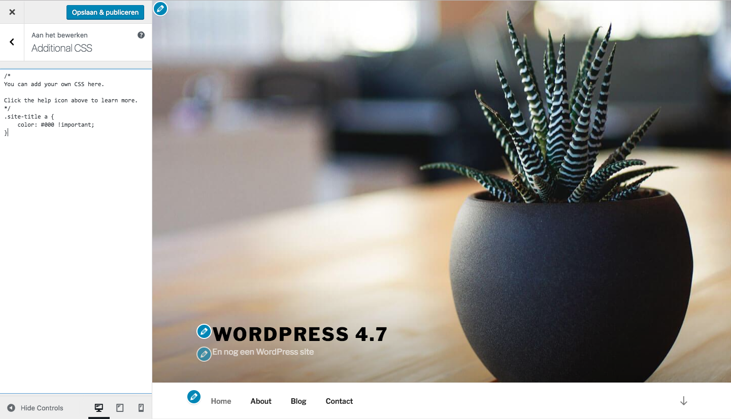 WordPress 4.7 custom css