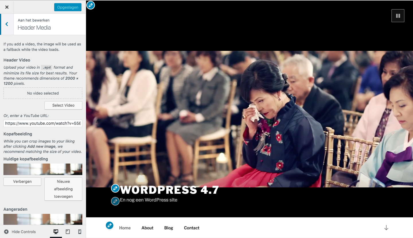 WordPress 4.7 - customizer - Video Header