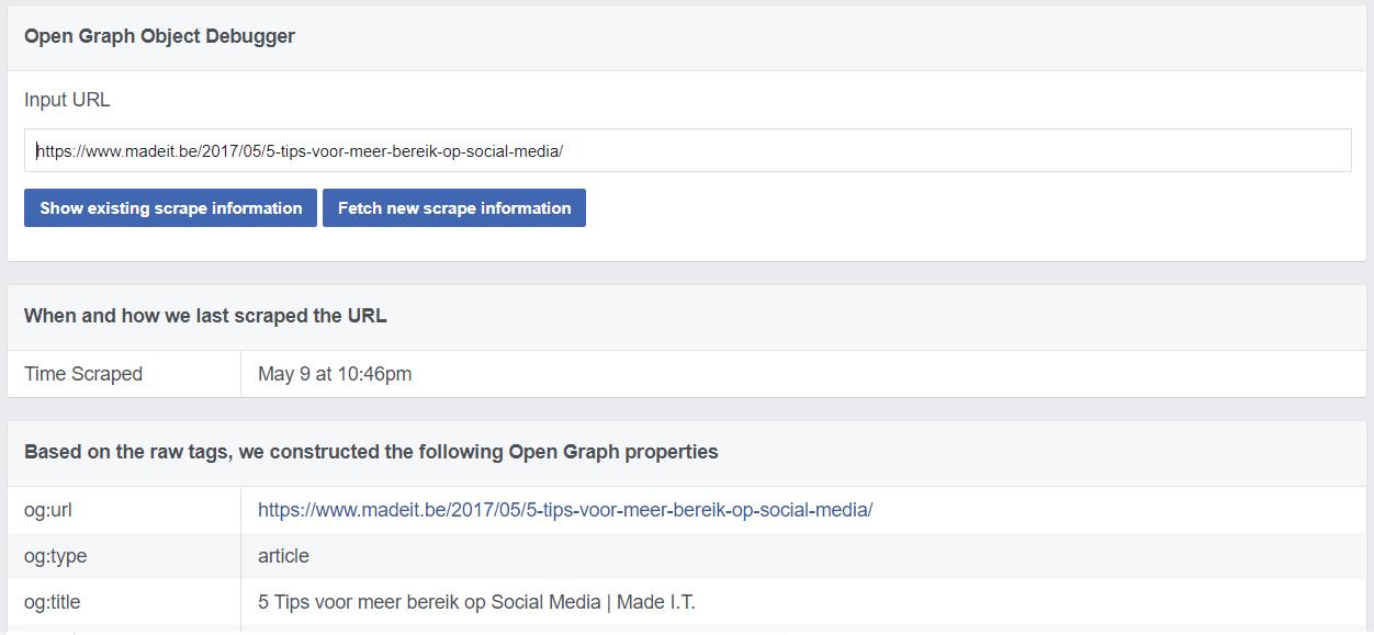 Facebook debug Open Graph