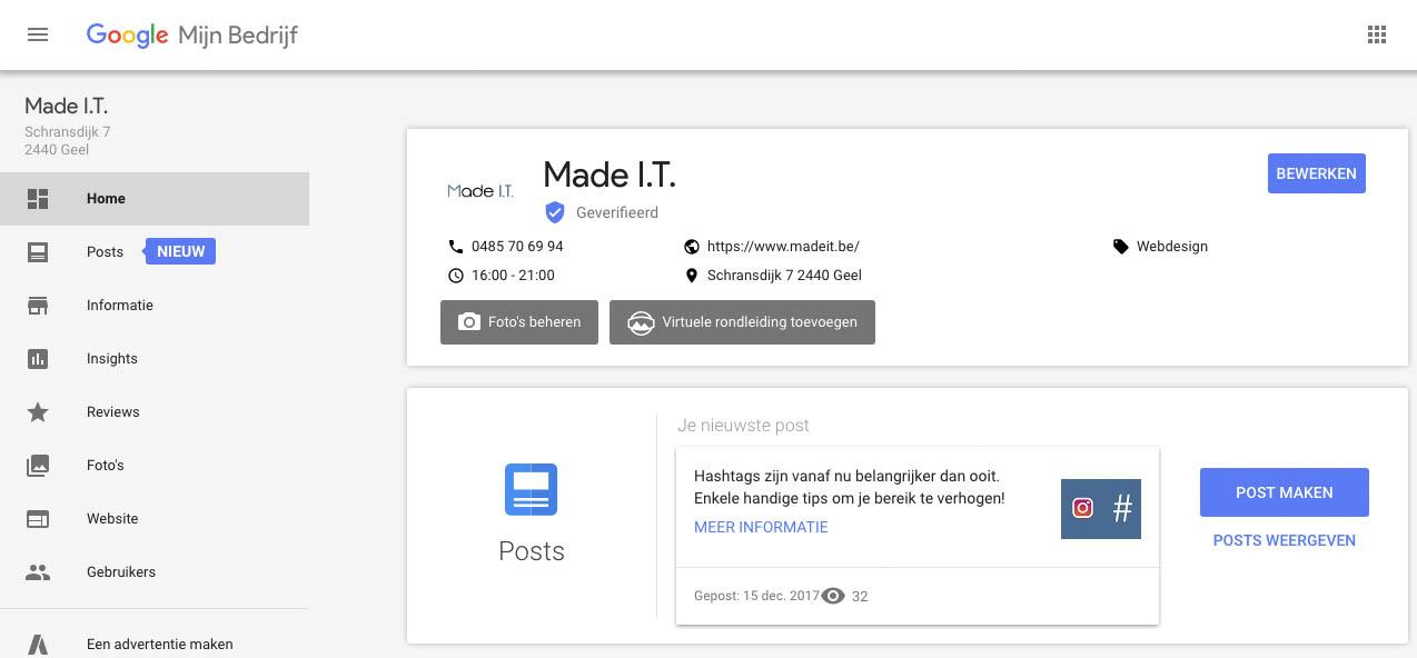 Google posts op mijn bedrijf pagina