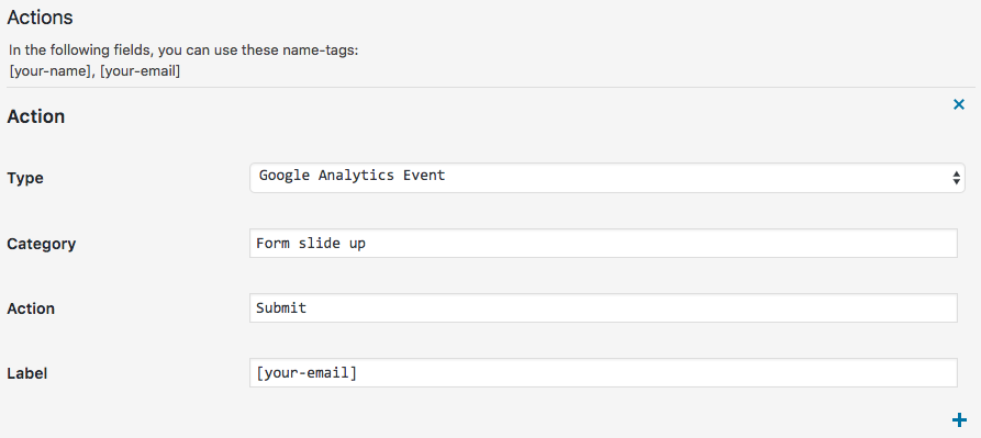 Configureer Google Analytics events acties in Made IT Forms