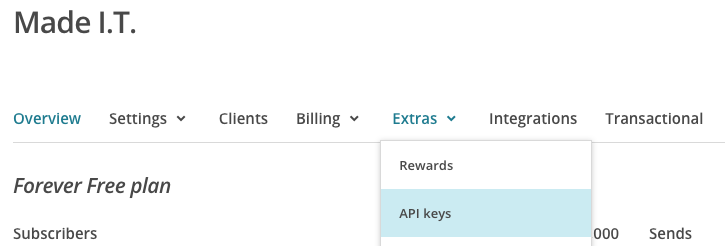 mailchimp api key - menu extra