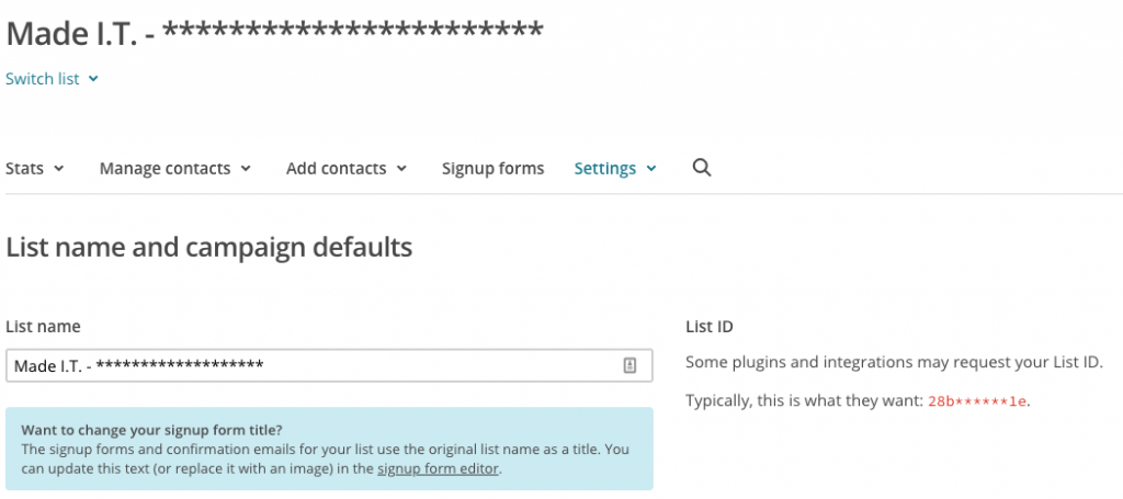 mailchimp list id - settings