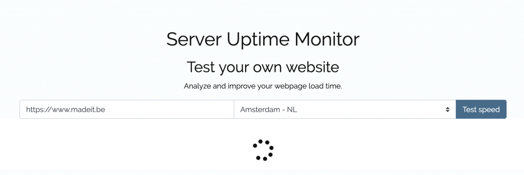 Starten speedtest op serveruptimemonitor.co