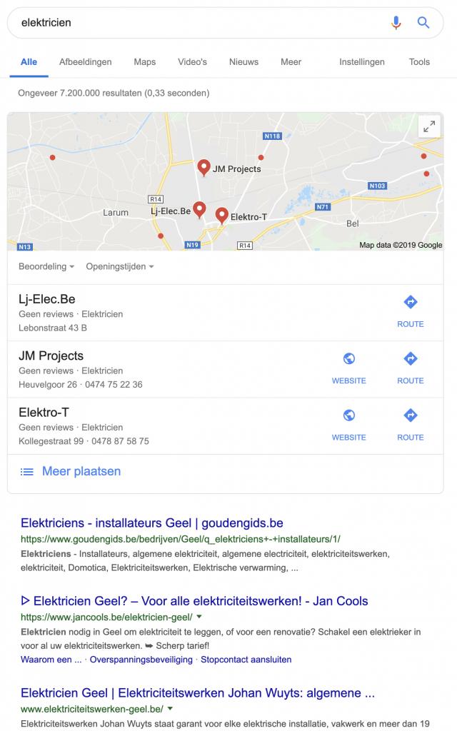 SEO, Serp, Lokaal zoeken elektricien Geel