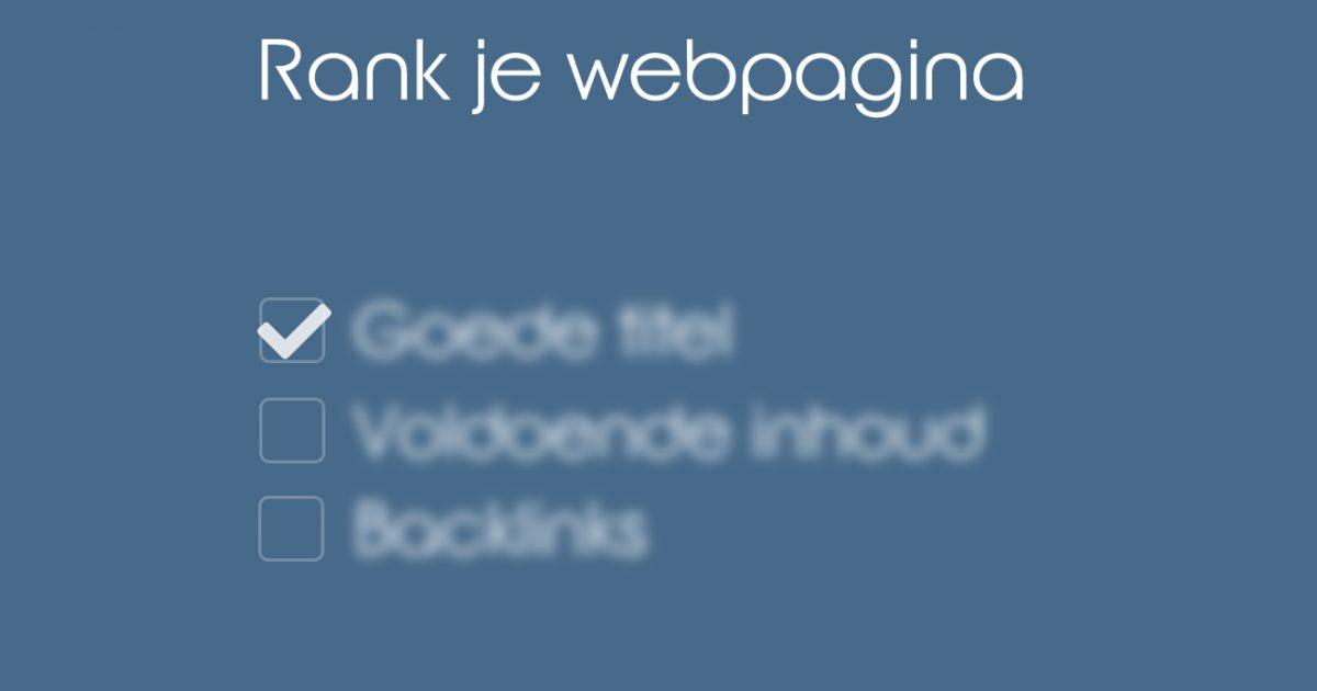 Verbeter de ranking van je webpagina