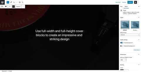 WordPress 5.7, volledige hoogte cover afbeelding blok.