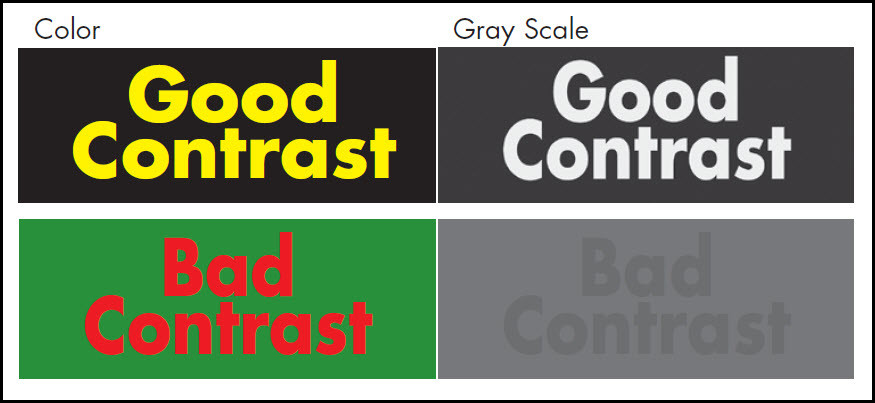 Voorbeeld goed en slecht contrast