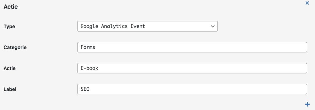 Forms plugin - Tracking instellingen