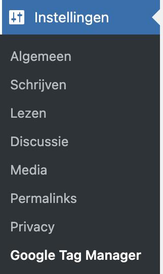 WordPress Tag Manager instelling menu